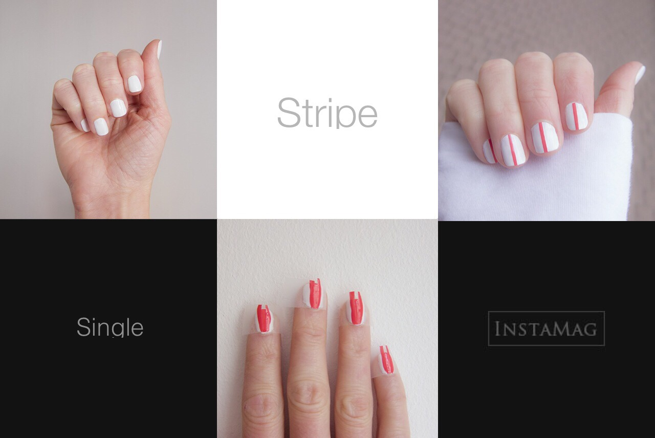 --> For Full Tutorial:  http://islaeverywhere.blogspot.fi/2013/07/diy-single-stripe-nails.html?m=1