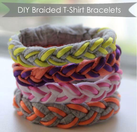 13. DIY braided t-shirt bracelets