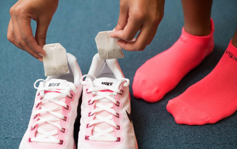 11. Pack dry tea bags to put in your shoes after your workout to prevent them from smelling. The bags will absorb the sweaty odor and leave you with much nicer-smelling sneakers.