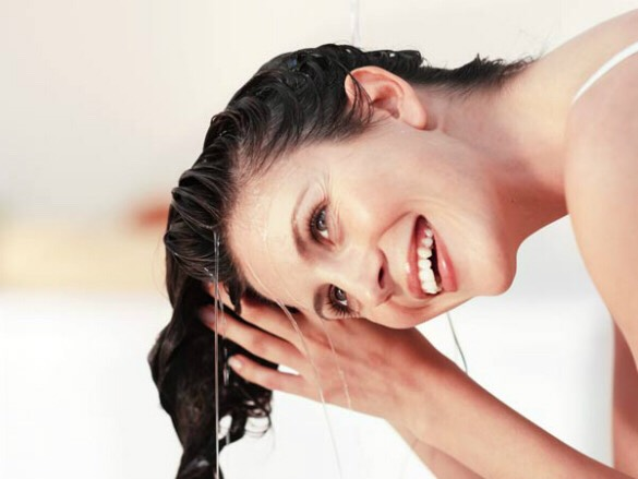 Next, rinse your hair well with warm water until all the salt and baking soda is out of your hair.  You can use a little bit of gentle shampoo if needed