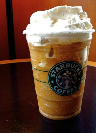 Pumpkin Pie Frappuccino  The Secret:	 1) Pumpkin Spice Frap 2) 1-2 Pumps Cinnamon Dolce Syrup 3) Whipped Cream blended in Cinnamon Dolce Sprinkles on top  How to Order:	Show or tell your barista this secret Pumpkin Pie Frappuccino and they will gladly make it for you.