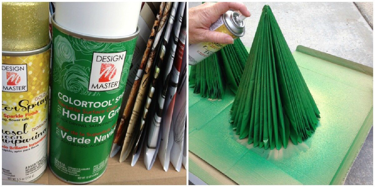 Or, if you want to embellish your tree you can spray paint it, add ribbon or do whatever you want to give it a little bling.  I spray painted my trees with green spray paint and then added some gold glitter spray paint.  Next I added some ribbon for a whimsical look.