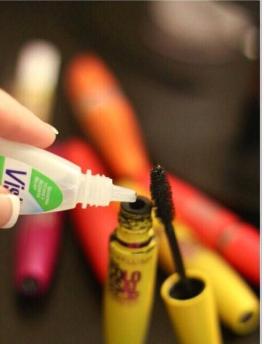 Is your mascara getting clumpy or dry? Make your mascara last longer by adding 4-5 drops of eyedrops!