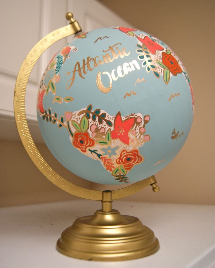Flower painted globe