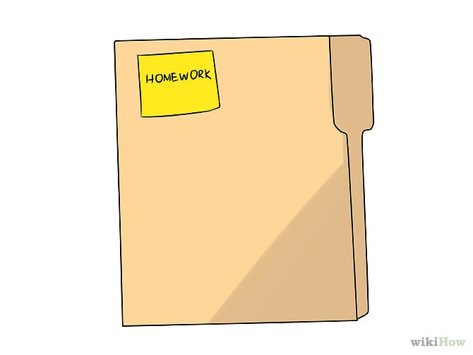 My third tip is to use a separate folder for your homework. When you're in class and a homework sheet is handed out, instead of shoving it in your binder or bag, put it in a folder! This way when you get home you know what assignments you have to do.