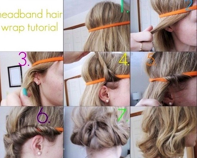 Place a headband on your head, around your forehead.Tuck little pieces of hair under a headband over and over until you've reached the middle, then roll on top if curl until all hair is gone. Note:hair must be 80-90% dry and also I place bobby pins in it  to keep the curls from escaping during 😴💤