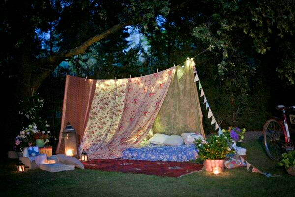 build a outdoor fort to camp in!
