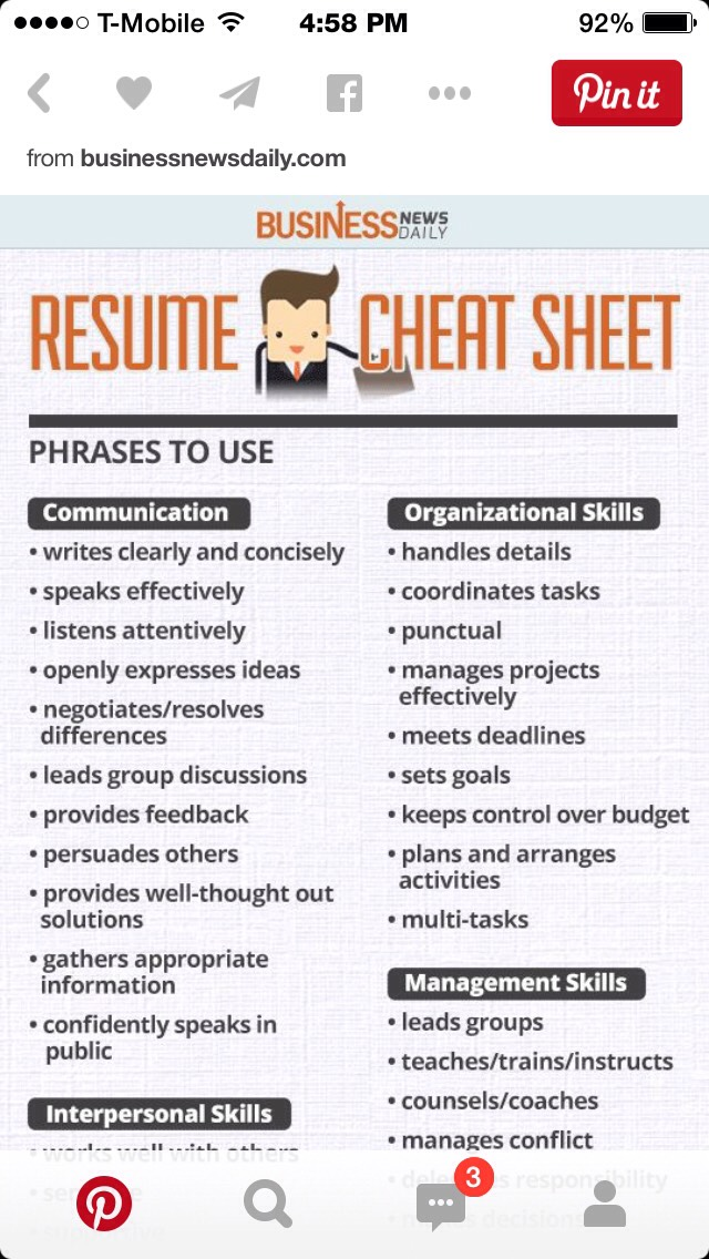 Captivating 🎀Resume Cheat Sheet🎀 Within Resume Cheat Sheet