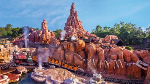 Mountains: The big roller coasters in Disney, including Splash Mountain, Space Mountain, and Thunder Mountain