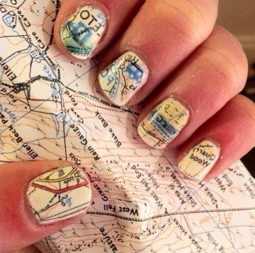 7. Cartography inspired nails
