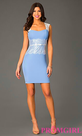 Sky Blue Form Fitting Dress w/ Lace