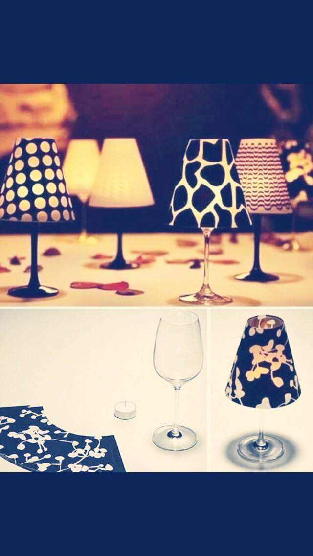 take an ordinary glass and a curved piece of designed paper and turn it into a lamp! super cheap and super cute!