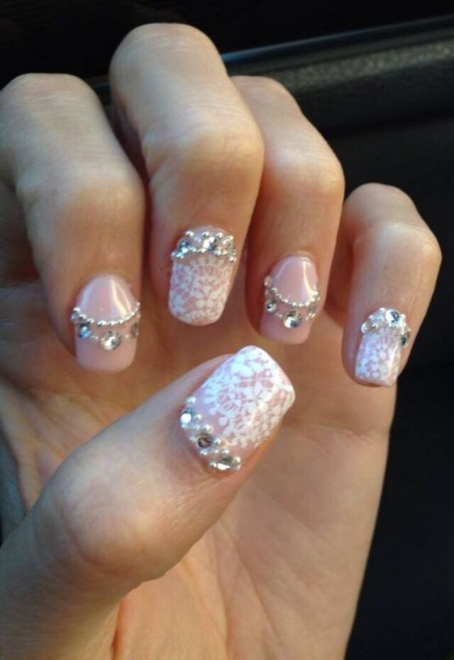 5. LACE, BLING, AND PEARL WEDDING NAILS