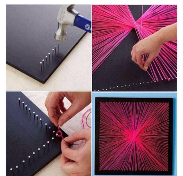String art It's very pretty and cute, and you can use lots of different colors too!