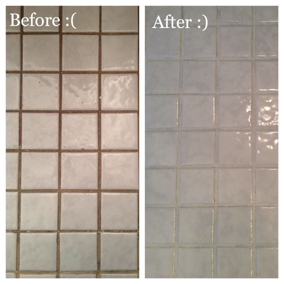Use bleach and baking soda to make an awesome paste that restores your grout to new.