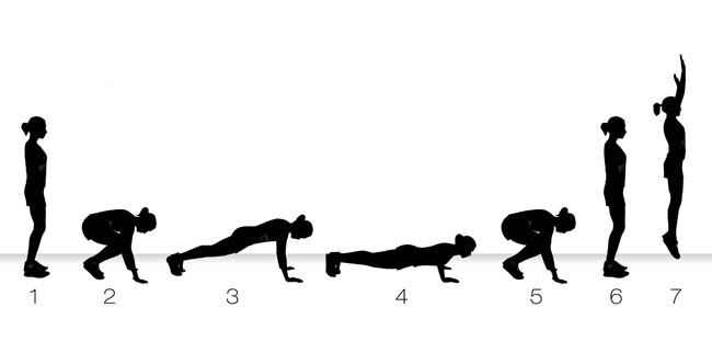 20 burpees . Targets mostly all the muscles in your body and is great for body fat .