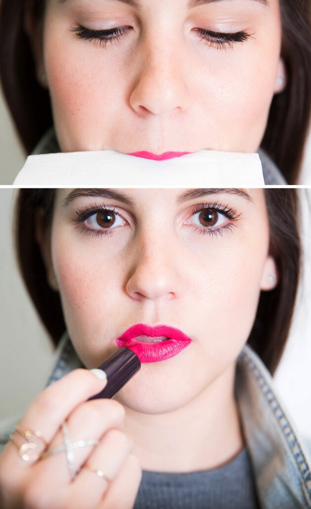 Tip 5 ~   To prevent getting lipstick / lipgloss on your teeth take any sort of tissue and place between both lips and then that should get rid of any lipstick under your lip .