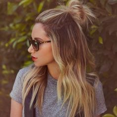 3. no time for hair? throw the top section in a bun/pony tail for a cute girly on the go look
