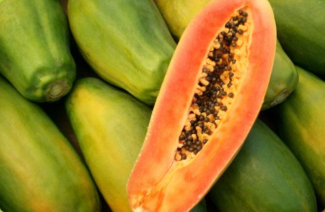 1-Papaya  Scared of getting wrinkles? Simply eat more papaya! This fruit has TONS of antioxidants, which will prevent your skin from wrinkling.