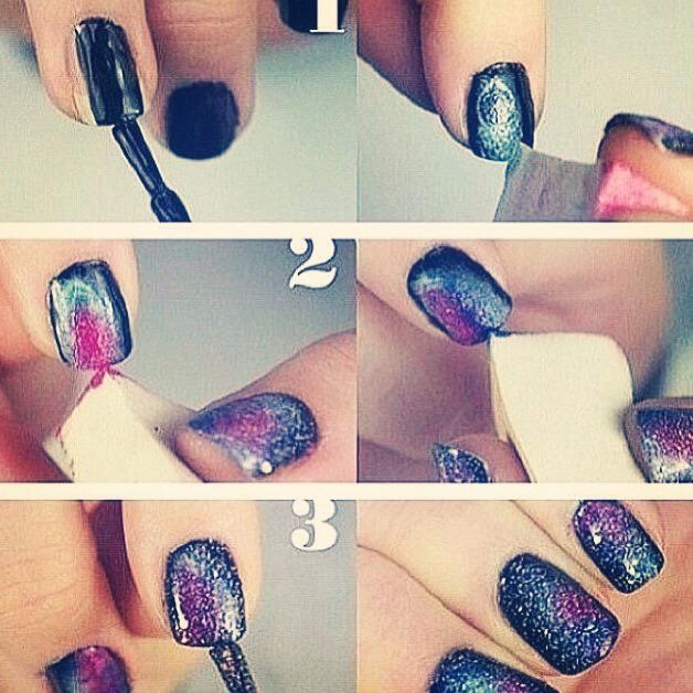 Galaxy Black Nail Polish Blue Metallic Pink Purple Sparkles Make Up Sponge