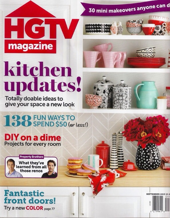 6. HGTV MAGAZINE  HGTV magazine is known for its creativity and colorful approach to home decor. The suggestions are affordable, accessible and often times easily attempted by even a novice crafter.