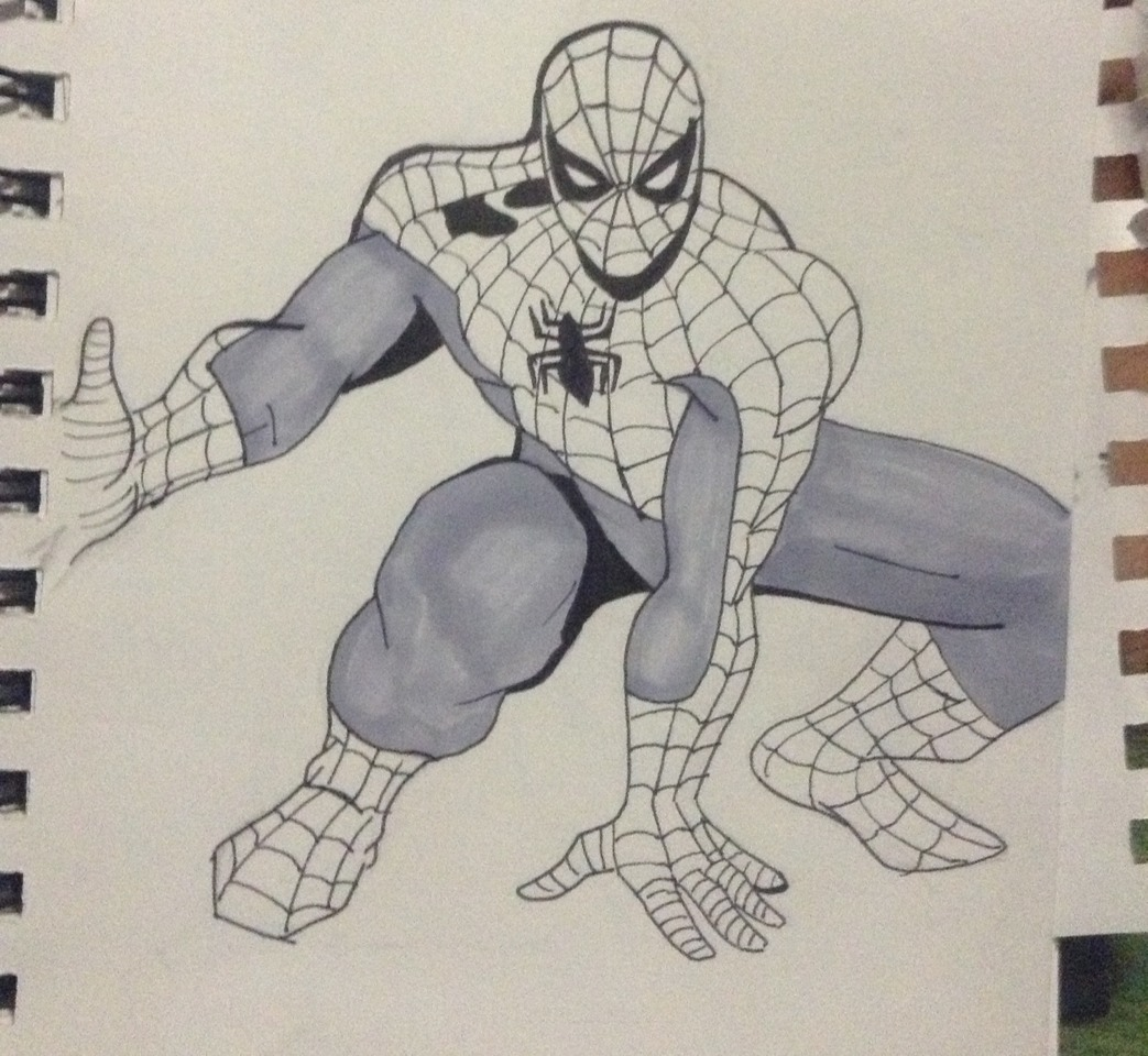 I colored Spider-man's costume with the prismacolor gray marker. If you rather color it with his original color, blue, feel free.