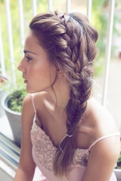 Side French braid into a fishtail