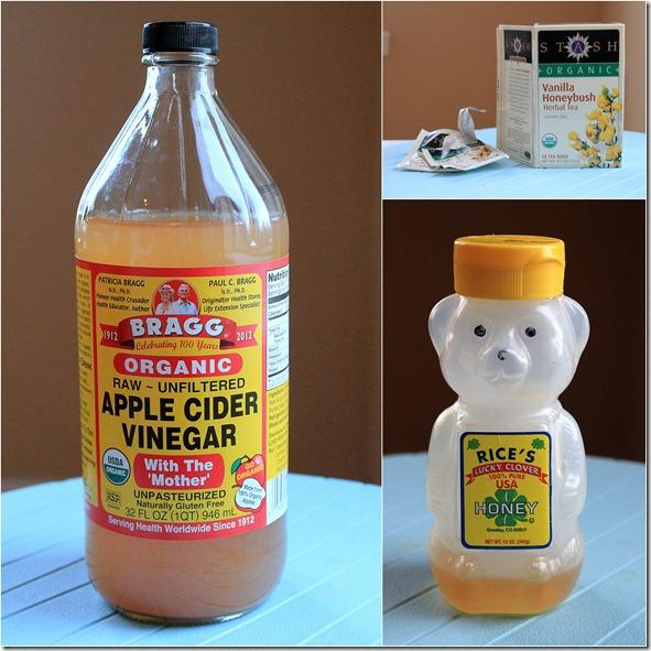 Just brew your favorite bag of tea in hot water, then add 1 T apple cider vinegar and 1 T of honey. Simple!