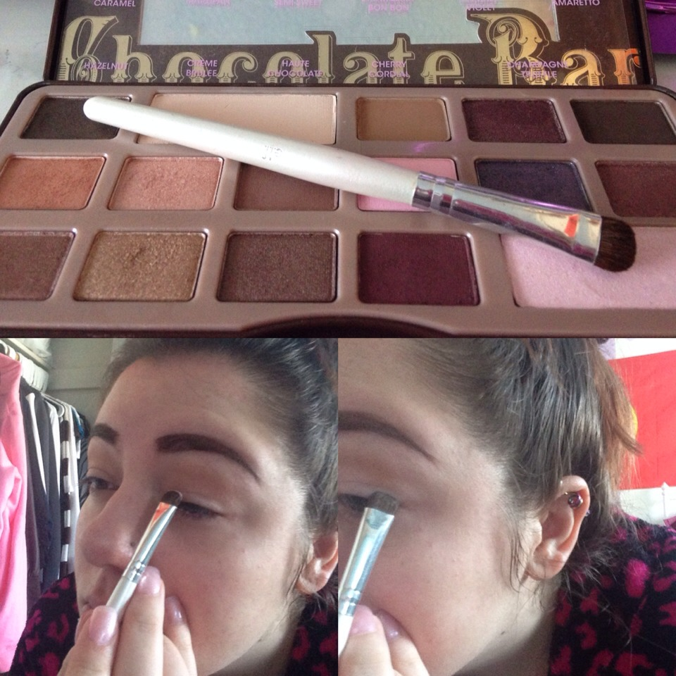 Using a C shaped eyeshadow brush, place 2 (strawberry Bon Bon) on the first 2/3 of your eyelid, and 3 (candied violet) to the outter 1/3 blending slightly where the colors meet.