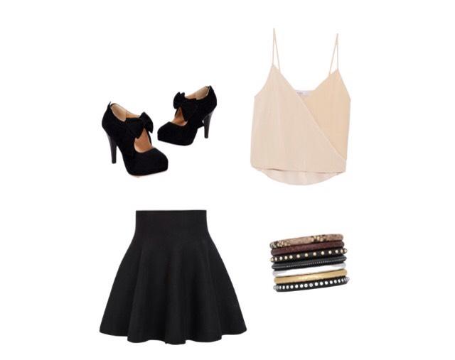 Shirt - theoutnet.com  Skirt - Romwe.com  Shoes - Amazon.com  Bracelet - ysl.com