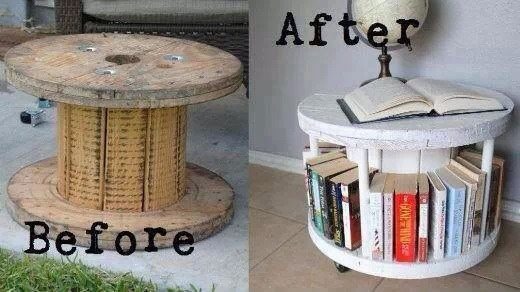 And Old Cable Wheel To Make A Coffee Table Bookcase