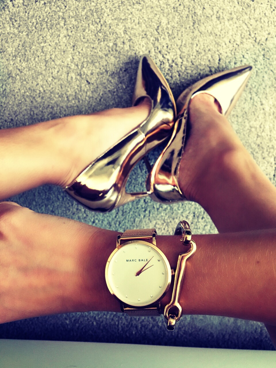"""Voucher for Rose Gold Jewellery . Free gift with Marc Bale watch Use code """"laurabudryte"""" for 15% off at www.thepeachbox.com and get a free peach leather strap with your rose gold watch!"""