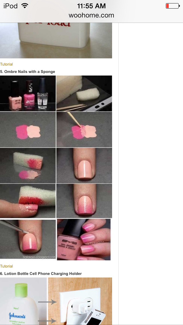 Materials include: sponge, 2 colors of finger nail polish, clear coat, and toothpicks