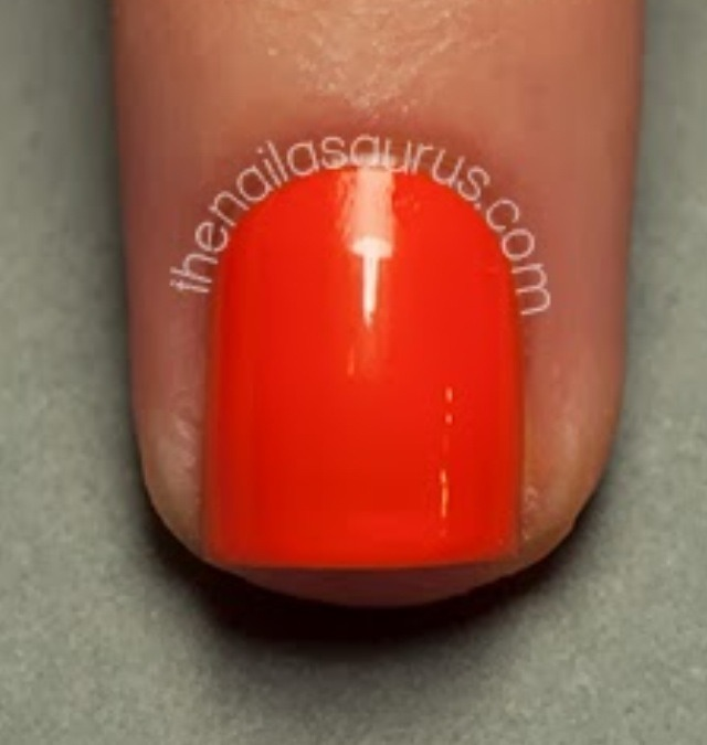 Paint your nails with your base color, orange
