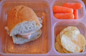 turkey on french baguette, kettle chips, carrots