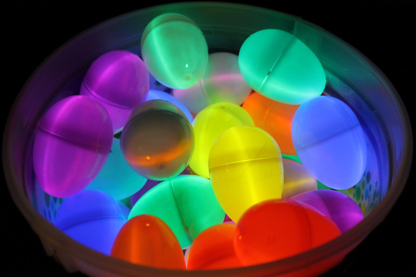 Glow in the dark Easter eggs: you put a mini glow stick in a plastic Easter egg, you can also put candy as long as it doesn't cover the light. This makes Easter egg hunts more fun and you can play it at night!!! (Just make sure to wear bug spray if there are lots of Mosquitos were you live)