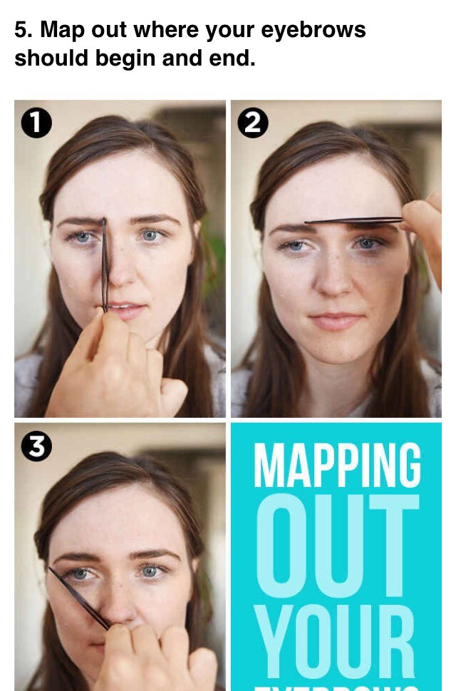 --> Hold the tweezer vertically from the outermost part of your nostril straight up to your eyebrow. The place where the tweezer hits is where the innermost part of your eyebrow should begin. Then, hold the tweezer diagonally from the outermost part of your nostril to the outermost part of your eye.