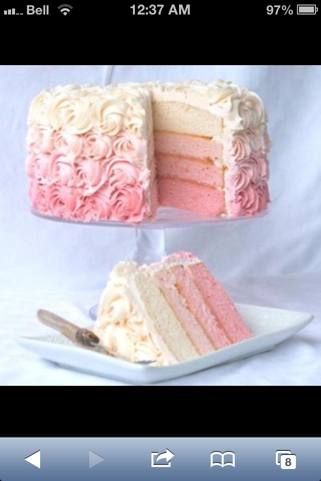 Make regular vanilla cake batter, and separate it equally into 4-5 different bowls. Add food colouring to make each section darker than the batter before it. Bake each section, and stack with icing! Nice ombré frosting to decorate make it look even better