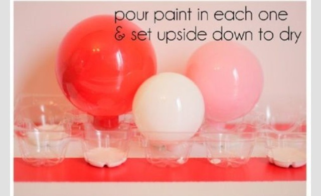 Pour paint into each one & set upside down to dry.