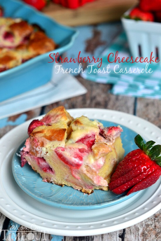 Take the hassle out of breakfast with this Overnight Strawberry Cheesecake French Toast Casserole! Enjoy this decadent casserole with warm Strawberry-Maple Syrup or pile on fresh strawberries and whipped cream – your choice!