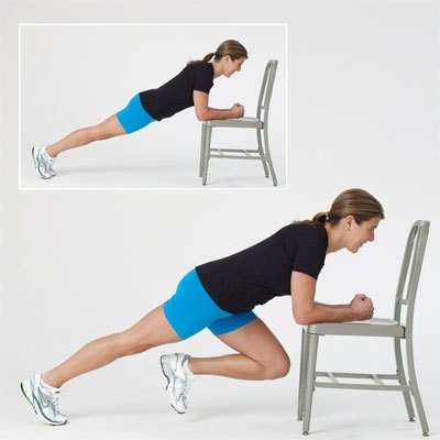 Do mountain climbers for 5 minutes you can use a chair,floor, and even a table whatever is easier for you