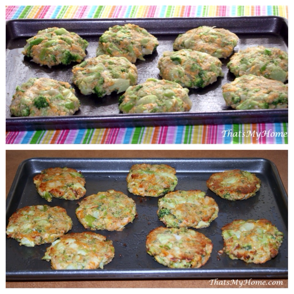 --> Ingredients;  -> 1 tsp butter -> 2 cloves garlic, minced -> 1/2 onion, chopped -> 1 (12 ounce) bag frozen broccoli, defrosted -> 3/4 cup breadcrumbs -> 1/2 cup sharp cheddar cheese -> 1/3 cup parmesan cheese -> 2 eggs, beaten -> salt+pepper -> 1 tsp vegetable oil