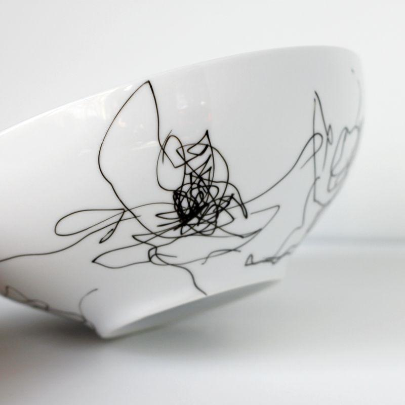 - A piece of white porcelain: a mug, plate, bowl etc.  - This pen   1.  Set up your little artist, explain the project and let them go to town.  (Be sure they are only drawing on the side that won't touch food, I just set the bowl upside down.)