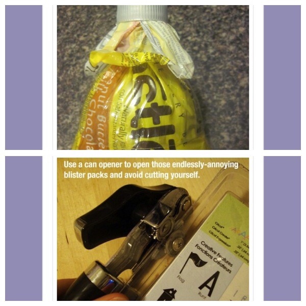 35. Cut the top off a screw top bottle and use to seal open bags 36. Use a can opener to open those endlessly- annoying blister packs and avoid cutting yourself