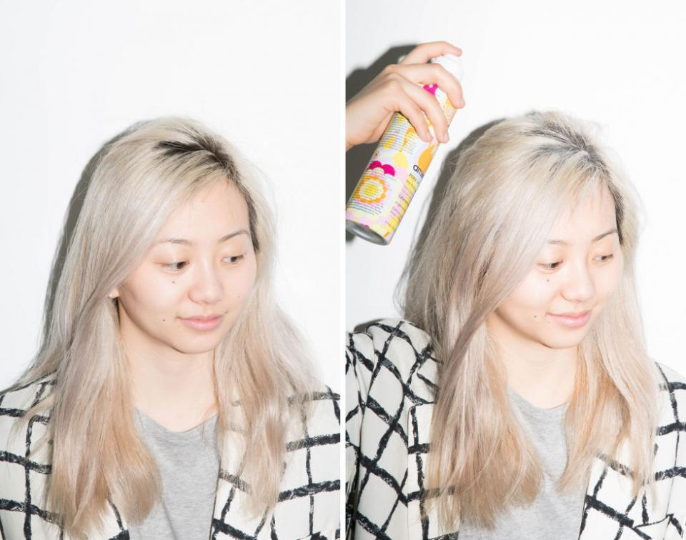 11. If you have dark hair that's dyed blonde, disguise your roots by using dry shampoo to cover up noticeable regrowth. Spray your roots with dry shampoo, let it sit for a few minutes, then finger-comb it through your hair to evenly distribute the product.
