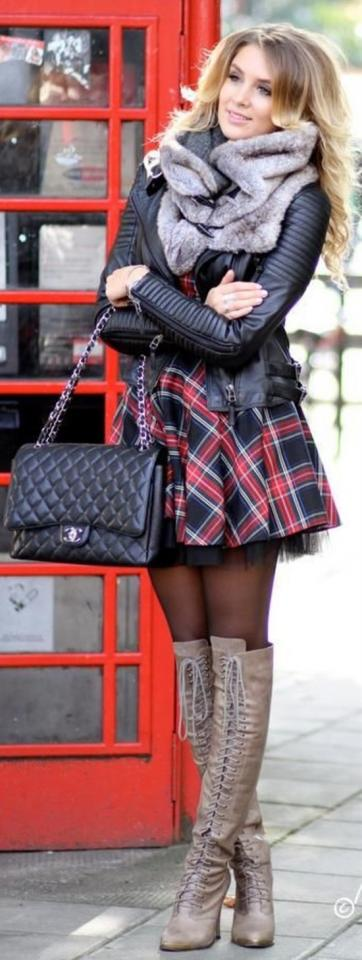 5. Plaid Dress With Tulle Underneath Winter Outfit