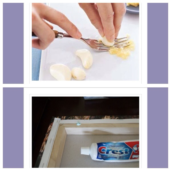 39. Use a fork to press garlic when you don't have a garlic presser  40.  When hanging a picture frame put a dab of toothpaste on the frame where you need the nails to be. Then simply press against the wall to leave marks (which can later be wiped) as guides for hammering in.