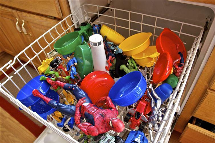 Toys: Individually hand-washing your kids' toys is such a pain - but there is a better way. Round up all the hard plastic toys in the house and run them through the dishwasher (just make sure they won't melt).