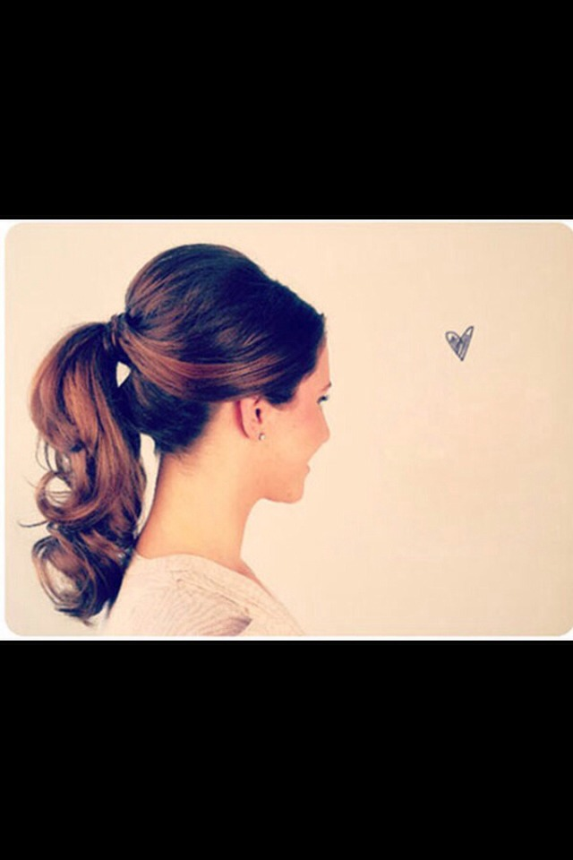 Clip the top of your hair with clips then gather the rest into a pony tail and tie up