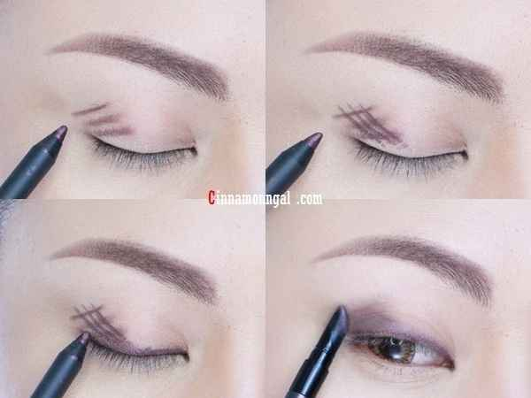 Crosshatch eyeliner onto lids and blend for long-lasting budge-proof coverage.  And you'll have the perfect makeup in minutes. (^.^)